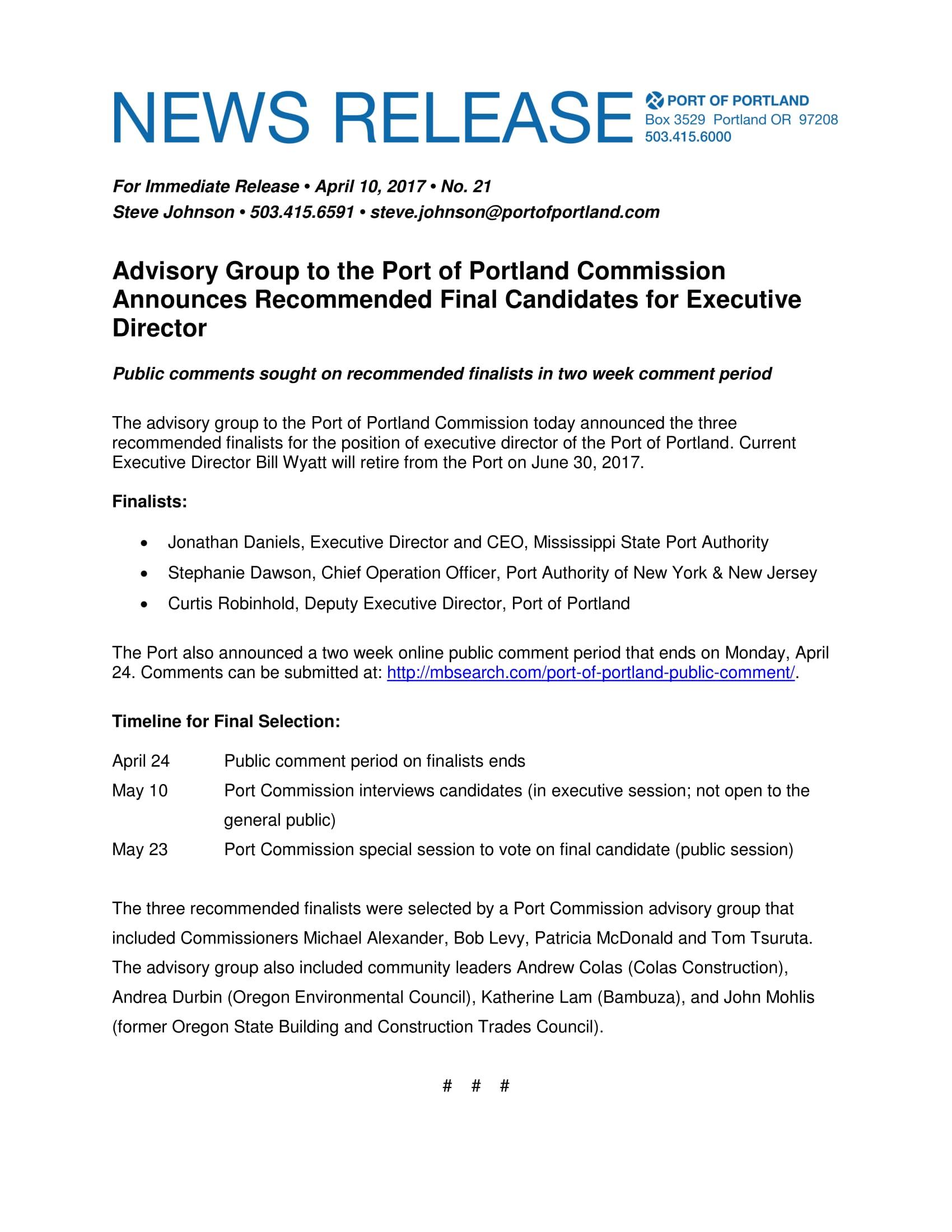 Port Of Portland News Release Finalist Resumes Mcdermott